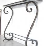 Console fer forgé, création de mobilier d'art Toulouse, acier, métal, fer forgé, inox