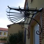 Marquise inox, Auvent en fer forgé de luxe style hôtel, Marquise acier design