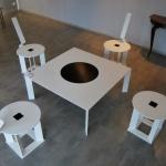 Création d'ambiance avec table basse et chaise metal mobilier d'art Toulouse FAS